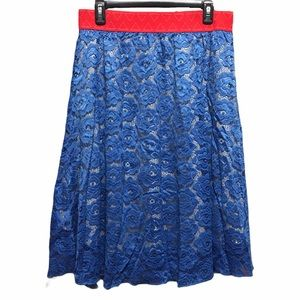 Women's blue and red lace maxi skirt